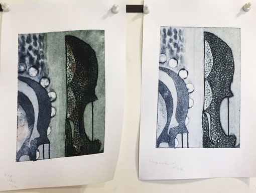 students work; collagraph print with white ink rolled over