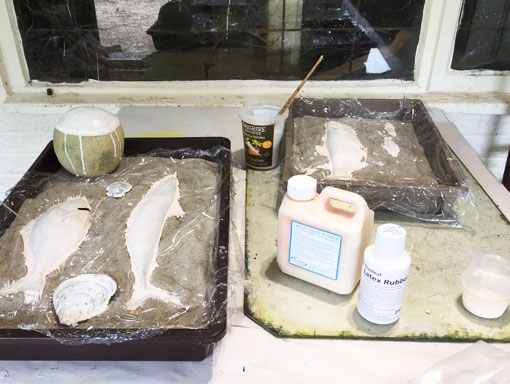 casting items with latex in the sand tray