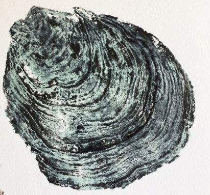 oyster shell from latex printing plate