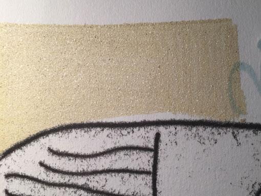 close up of coarse mica in a print