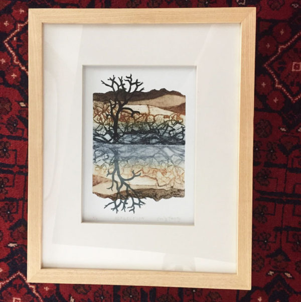 Reflection framed collagraph print