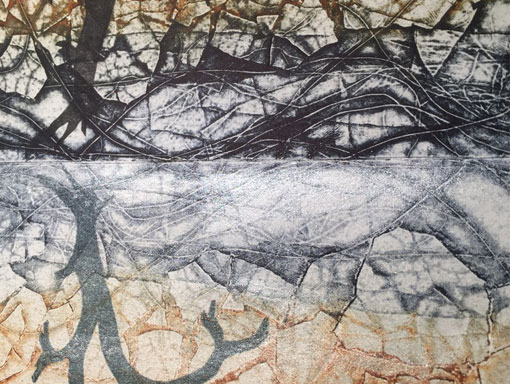 close up of collagraph print with mica