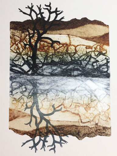 reflection collagraph print with mica