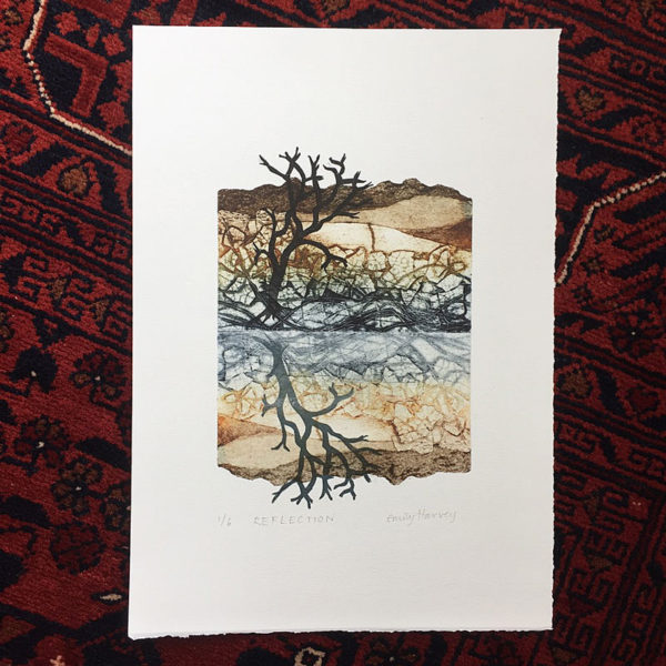 Reflection collagraph print