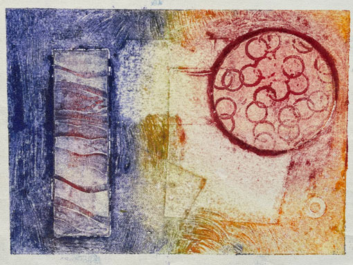 collagraph print on blind fabric