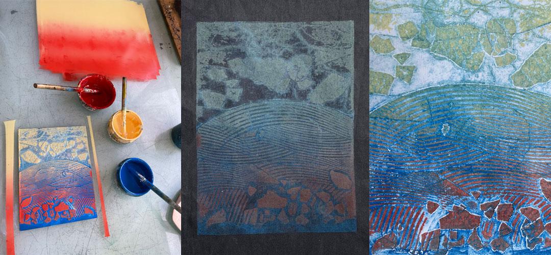 collagraph print on dark fabric