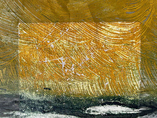 ink flaking off a collagraph print on fabric