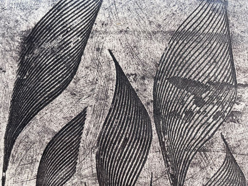 detail of collagraph on textile