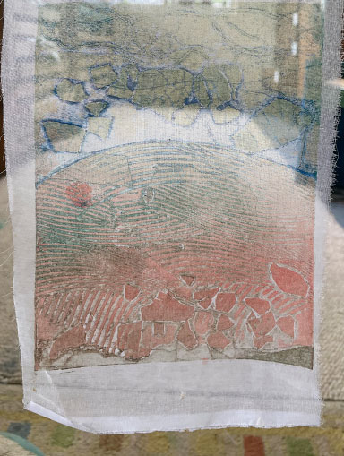 collagraph print on transparent fabric