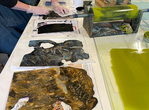 inking burnt collagraph plates