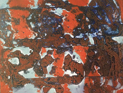 burnt collagraph plate with viscosity