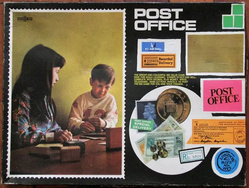 vintage post office toy with two children